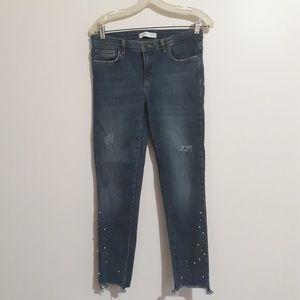 Zara Basic Distressed Pearl Raw Hem Jeans 8